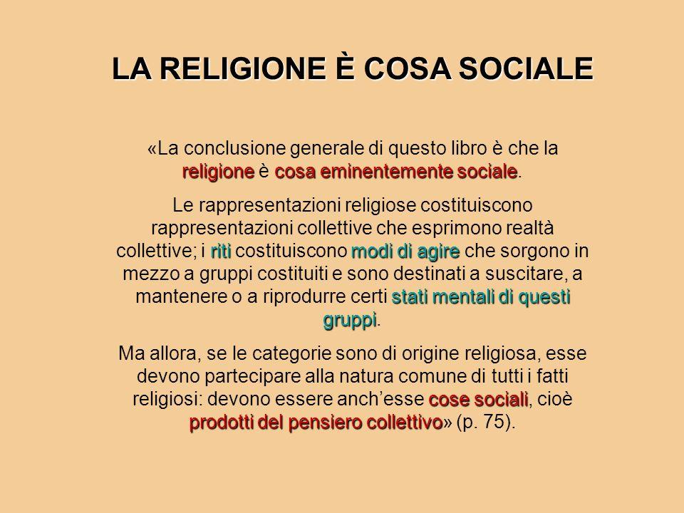 religionecosa eminentemente sociale «La conclusione generale di questo libro è che la religione è cosa eminentemente sociale. ritimodi di agire stati