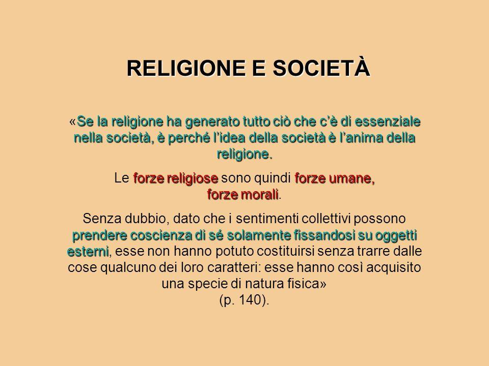 RELIGIONE E SOCIETÀ Se la religione ha generato tutto ciò che cè di essenziale nella società, è perché lidea della società è lanima della religione. «