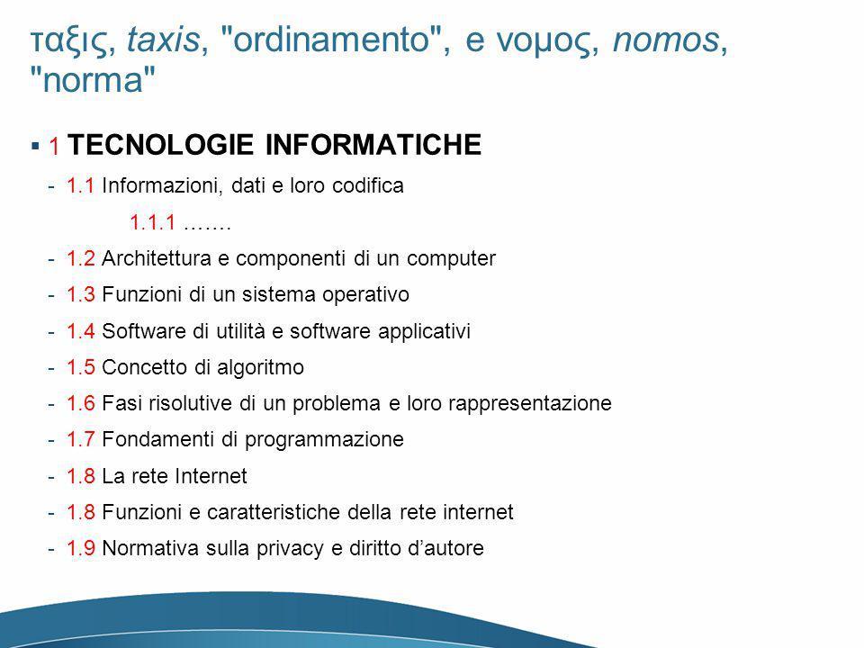 ταξις, taxis, ordinamento , e νομος, nomos, norma 1 TECNOLOGIE INFORMATICHE -1.1 Informazioni, dati e loro codifica 1.1.1 …….
