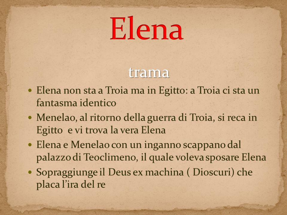 trama Elena non sta a Troia ma in Egitto: a Troia ci sta un fantasma identico Menelao, al ritorno della guerra di Troia, si reca in Egitto e vi trova