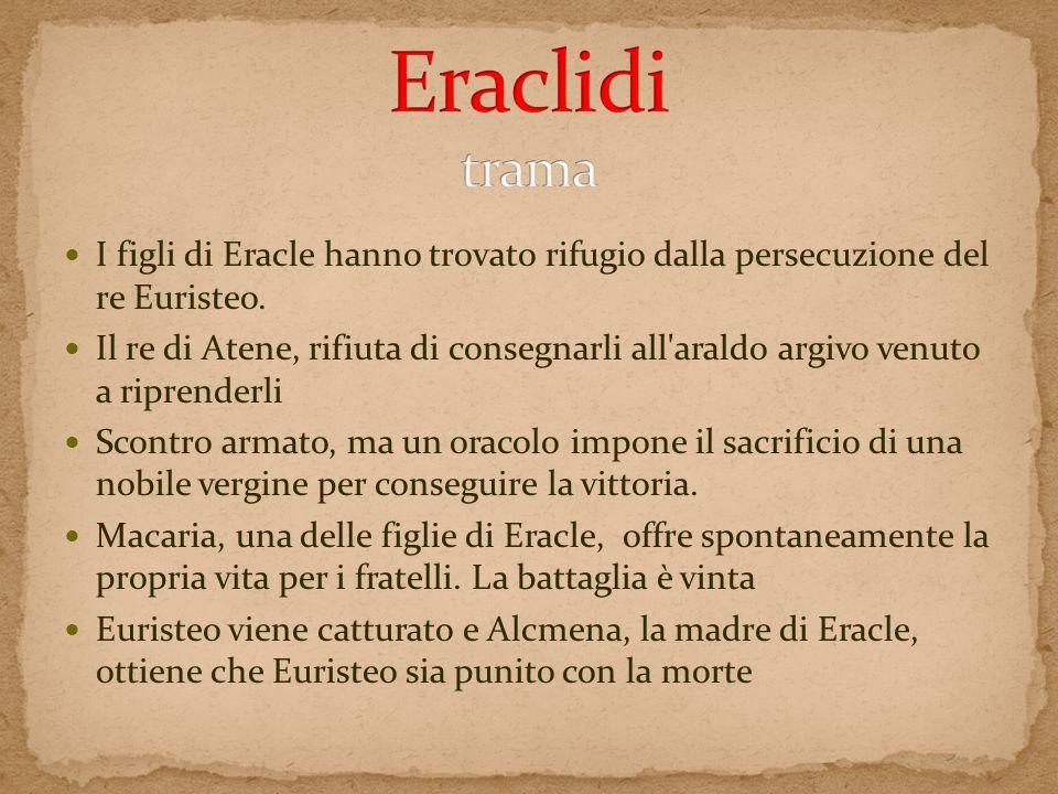 I figli di Eracle hanno trovato rifugio dalla persecuzione del re Euristeo. Il re di Atene, rifiuta di consegnarli all'araldo argivo venuto a riprende