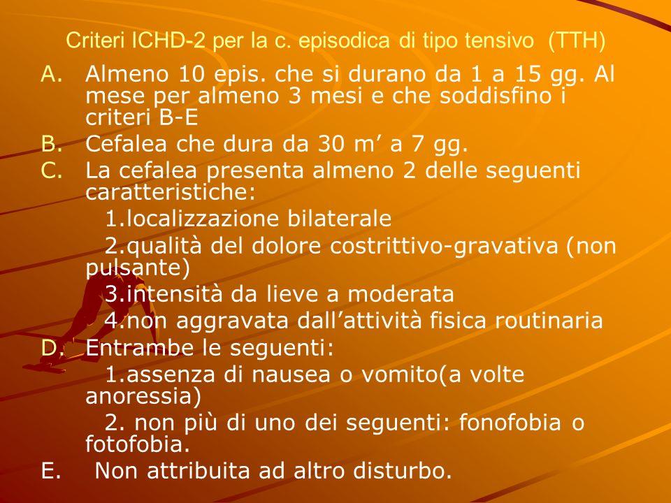 Criteri ICHD-2 per la c. episodica di tipo tensivo (TTH) A. A.Almeno 10 epis. che si durano da 1 a 15 gg. Al mese per almeno 3 mesi e che soddisfino i