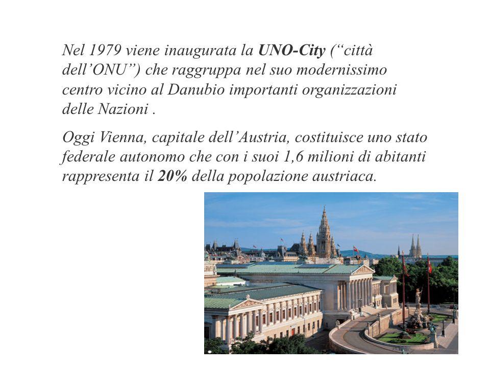 Nel 1979 viene inaugurata la UNO-City (città dellONU) che raggruppa nel suo modernissimo centro vicino al Danubio importanti organizzazioni delle Nazioni.