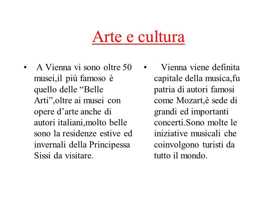 Arte e cultura A Vienna vi sono oltre 50 musei,il più famoso è quello delle Belle Arti,oltre ai musei con opere darte anche di autori italiani,molto b