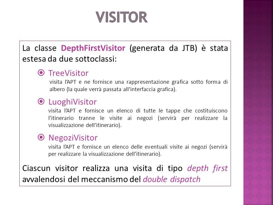 La classe DepthFirstVisitor (generata da JTB) è stata estesa da due sottoclassi: TreeVisitor visita lAPT e ne fornisce una rappresentazione grafica sotto forma di albero (la quale verrà passata allinterfaccia grafica).