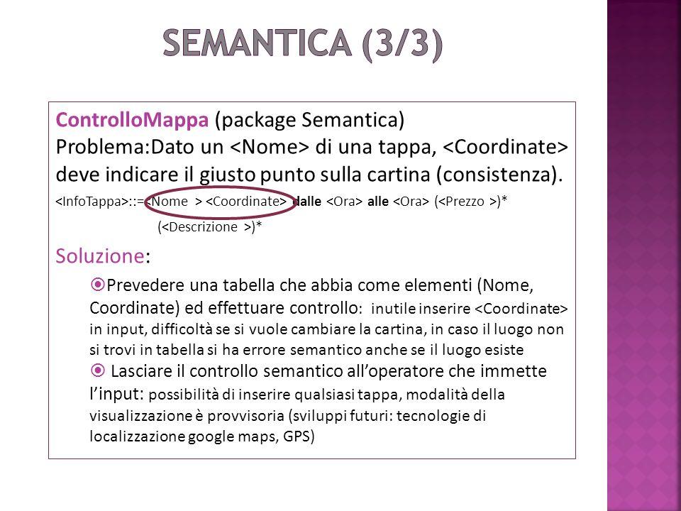 ControlloMappa (package Semantica) Problema:Dato un di una tappa, deve indicare il giusto punto sulla cartina (consistenza).