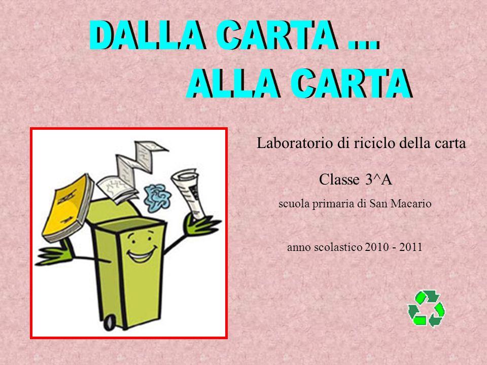 Laboratorio di riciclo della carta Classe 3^A scuola primaria di San Macario anno scolastico 2010 - 2011