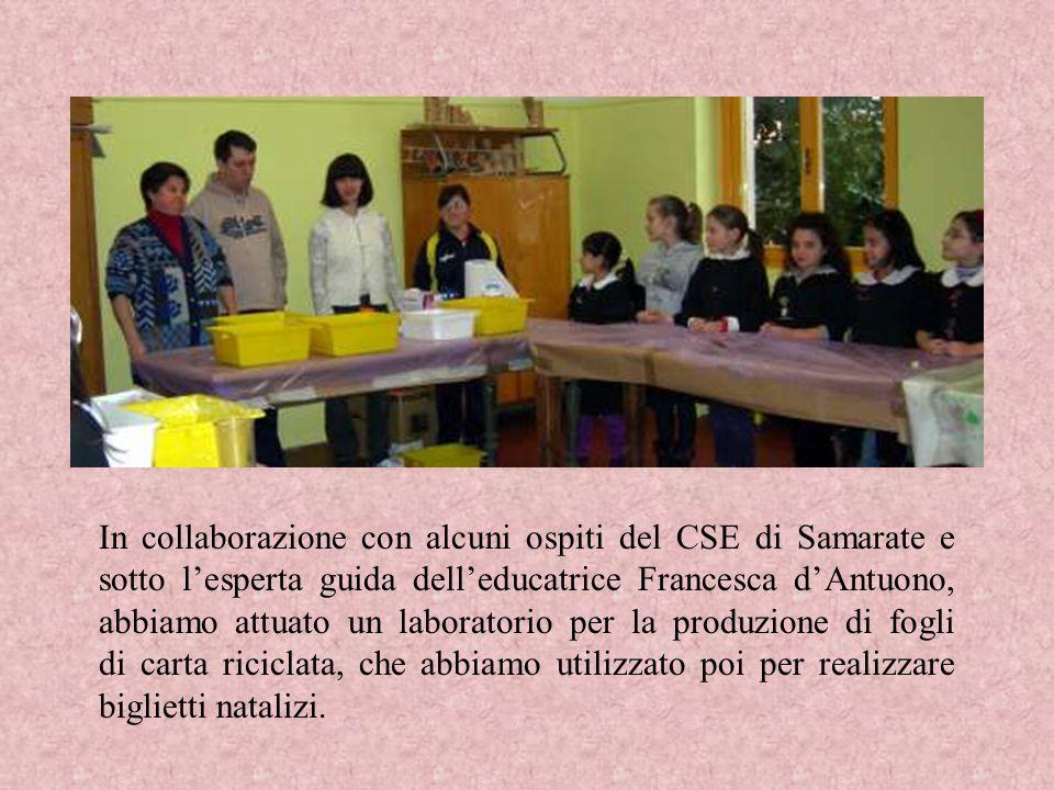 In collaborazione con alcuni ospiti del CSE di Samarate e sotto lesperta guida delleducatrice Francesca dAntuono, abbiamo attuato un laboratorio per l