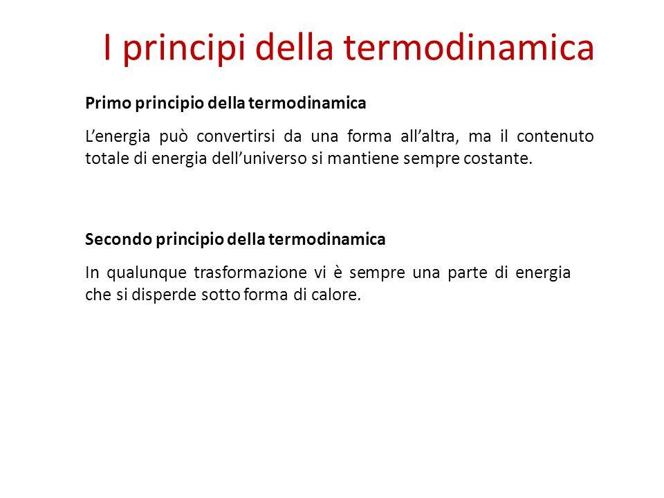I principi della termodinamica Primo principio della termodinamica Lenergia può convertirsi da una forma allaltra, ma il contenuto totale di energia delluniverso si mantiene sempre costante.