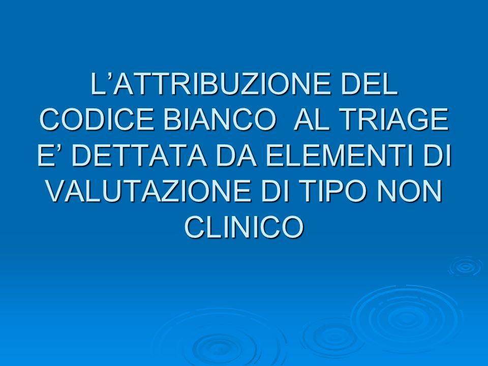 LATTRIBUZIONE DEL CODICE BIANCO AL TRIAGE E DETTATA DA ELEMENTI DI VALUTAZIONE DI TIPO NON CLINICO