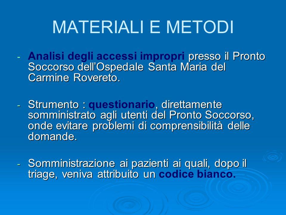 MATERIALI E METODI - presso il Pronto Soccorso dellOspedale Santa Maria del Carmine Rovereto.