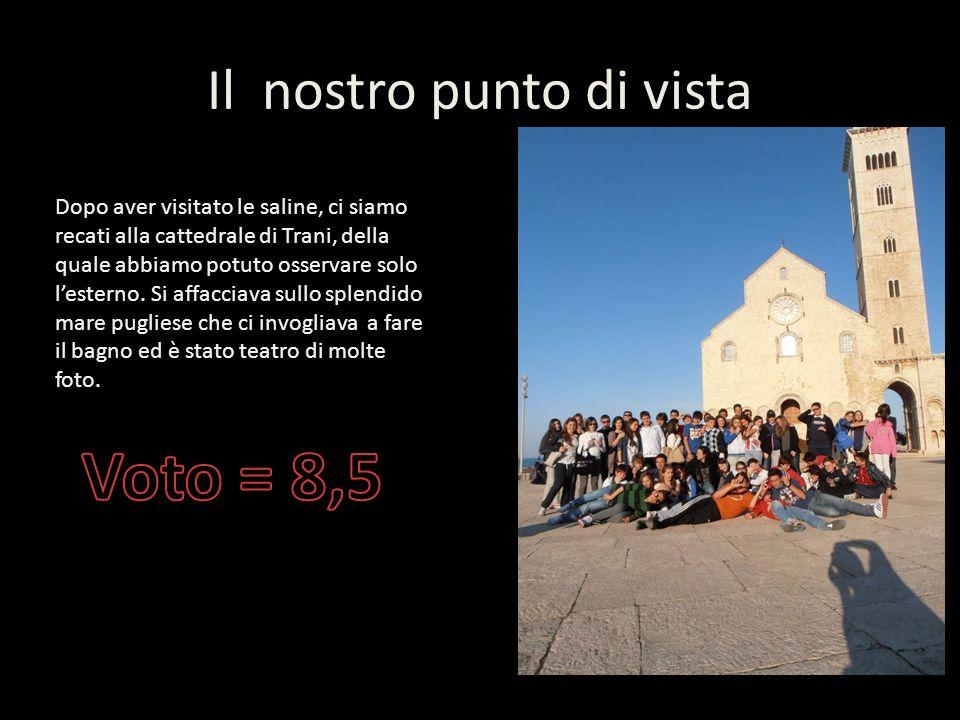Il nostro punto di vista Dopo aver visitato le saline, ci siamo recati alla cattedrale di Trani, della quale abbiamo potuto osservare solo lesterno.