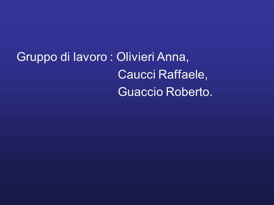 Gruppo di lavoro : Olivieri Anna, Caucci Raffaele, Guaccio Roberto.
