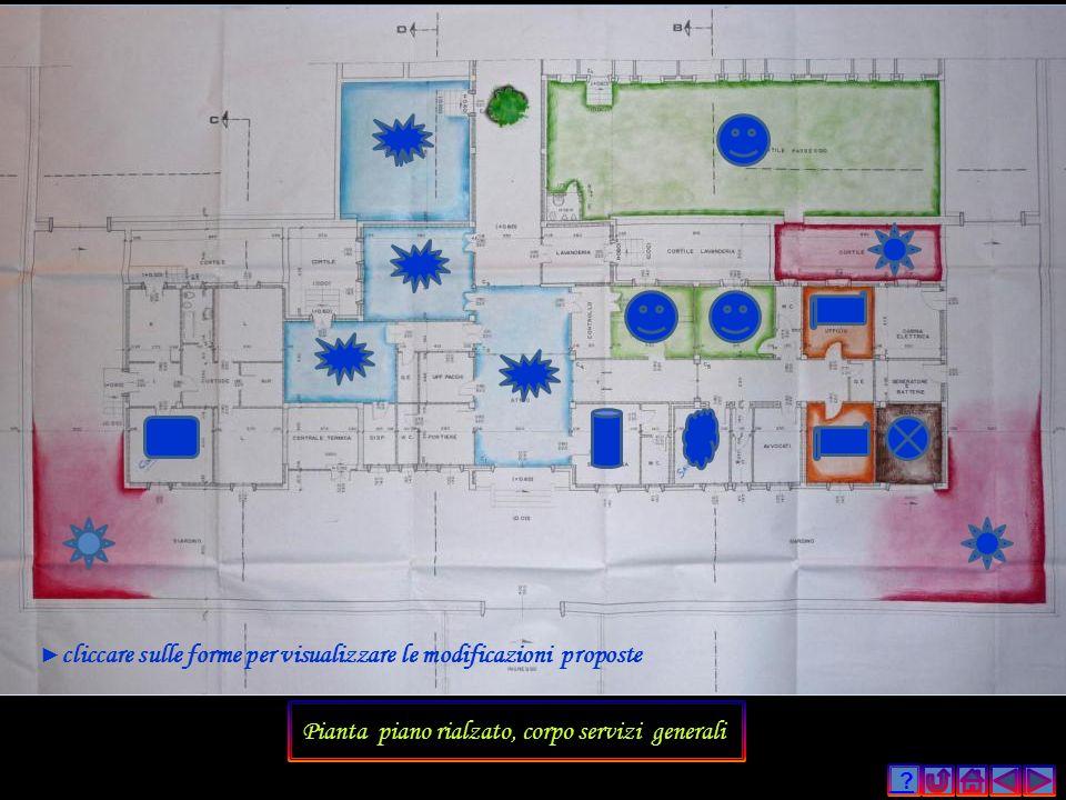 ? Pianta piano rialzato, corpo servizi generali cliccare sulle forme per visualizzare le modificazioni proposte