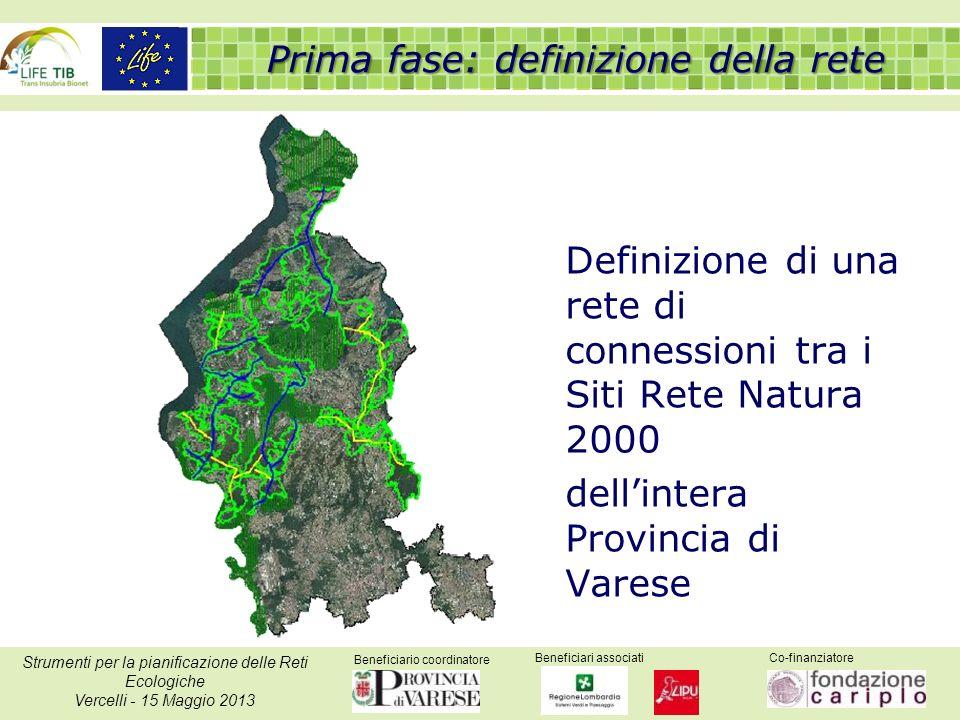 Beneficiario coordinatore Beneficiari associatiCo-finanziatore Strumenti per la pianificazione delle Reti Ecologiche Vercelli - 15 Maggio 2013 Definizione di una rete di connessioni tra i Siti Rete Natura 2000 dellintera Provincia di Varese Prima fase: definizione della rete