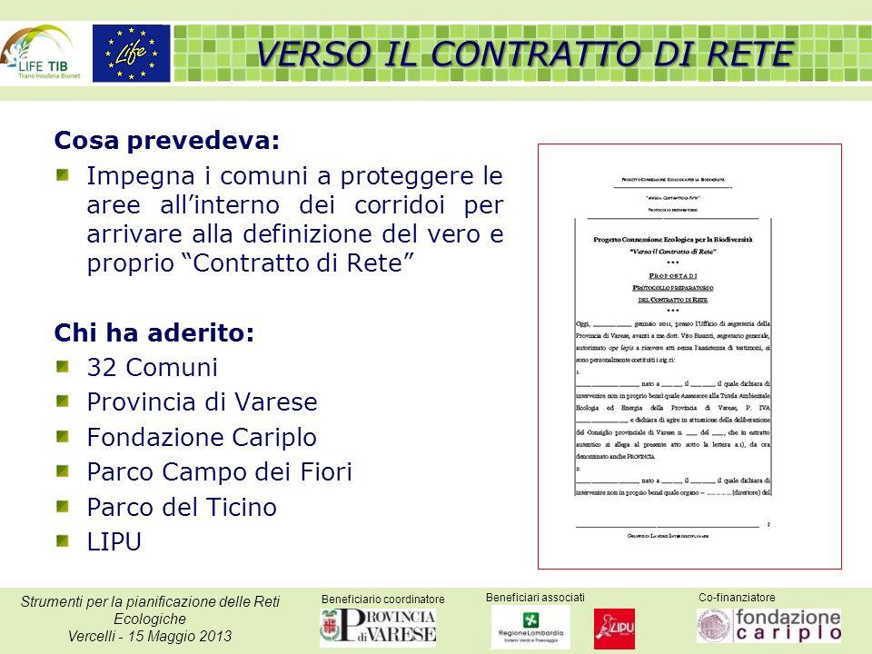 Beneficiario coordinatore Beneficiari associatiCo-finanziatore Strumenti per la pianificazione delle Reti Ecologiche Vercelli - 15 Maggio 2013 Cosa pr