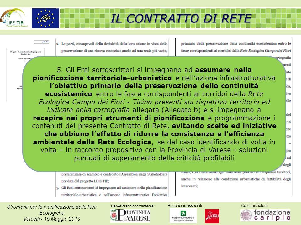 Beneficiario coordinatore Beneficiari associatiCo-finanziatore Strumenti per la pianificazione delle Reti Ecologiche Vercelli - 15 Maggio 2013 IL CONT