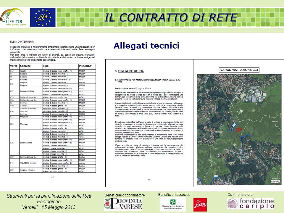 Beneficiario coordinatore Beneficiari associatiCo-finanziatore Strumenti per la pianificazione delle Reti Ecologiche Vercelli - 15 Maggio 2013 IL CONTRATTO DI RETE Allegati tecnici