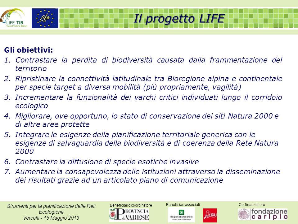 Beneficiario coordinatore Beneficiari associatiCo-finanziatore Strumenti per la pianificazione delle Reti Ecologiche Vercelli - 15 Maggio 2013 Gli obiettivi: 1.