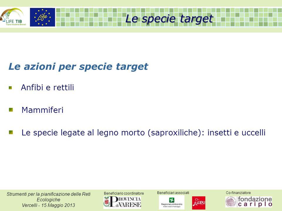Beneficiario coordinatore Beneficiari associatiCo-finanziatore Strumenti per la pianificazione delle Reti Ecologiche Vercelli - 15 Maggio 2013 Le spec