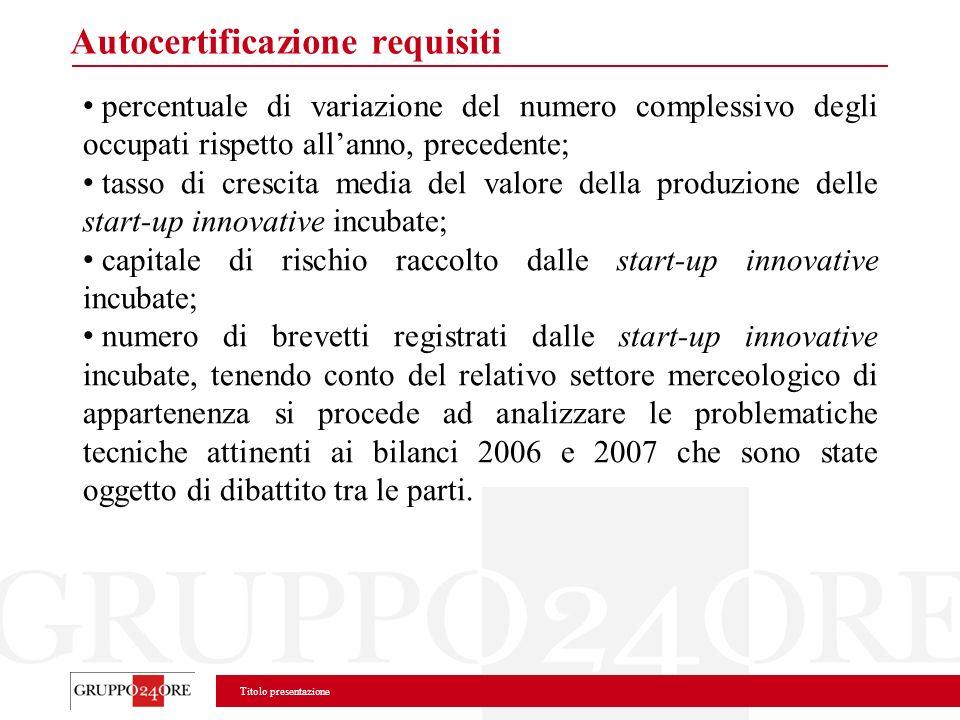 Titolo presentazione Autocertificazione requisiti percentuale di variazione del numero complessivo degli occupati rispetto allanno, precedente; tasso