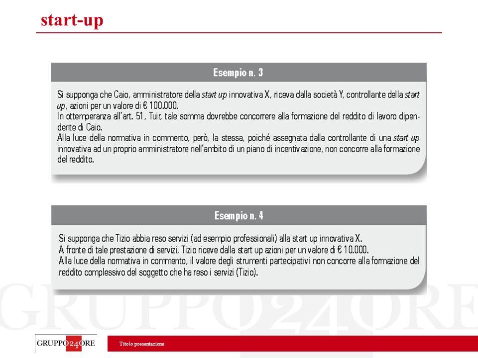 Titolo presentazione start-up