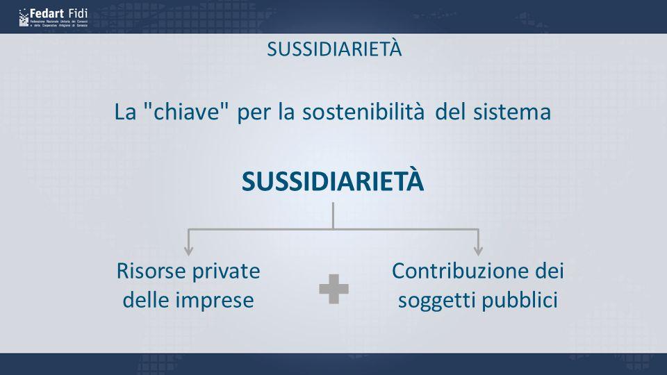 SUSSIDIARIETÀ La chiave per la sostenibilità del sistema SUSSIDIARIETÀ Contribuzione dei soggetti pubblici Risorse private delle imprese