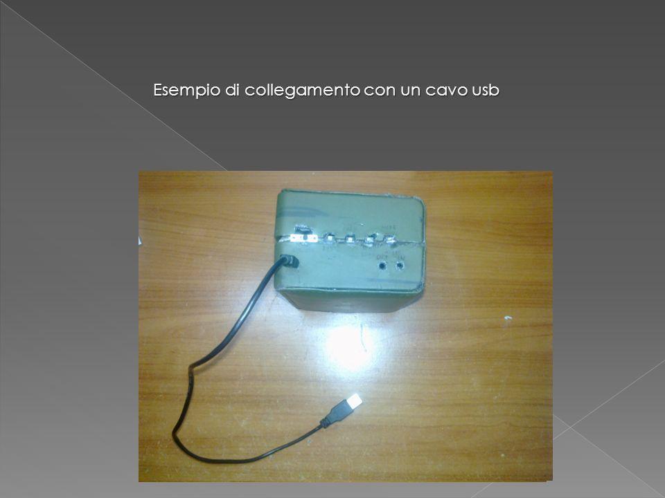 interruttore Pulsanti volume e selezione brano e stazione radio Play, stop, scan sorgente Entrata PC auricolari Cavo audio Esempio di collegamento con un cavo usb