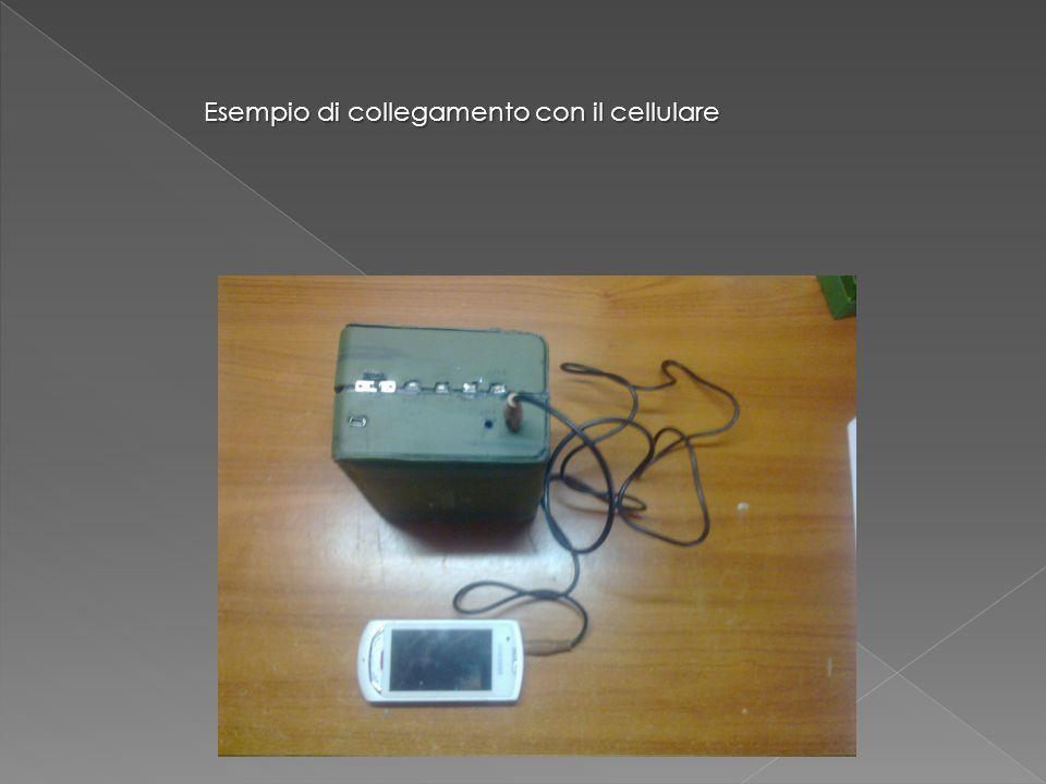 Esempio di collegamento con il cellulare interruttore Pulsanti volume e selezione brano e stazione radio Play, stop, scan sorgente Entrata PC auricolari Cavo audio