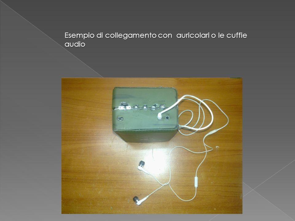 interruttore Pulsanti volume e selezione brano e stazione radio Play, stop, scan sorgente Entrata PC auricolari Cavo audio Esempio di collegamento con auricolari o le cuffie audio