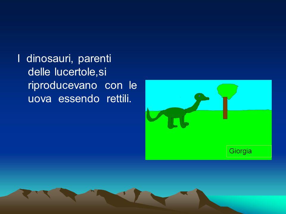 I dinosauri, parenti delle lucertole,si riproducevano con le uova essendo rettili. Giorgia