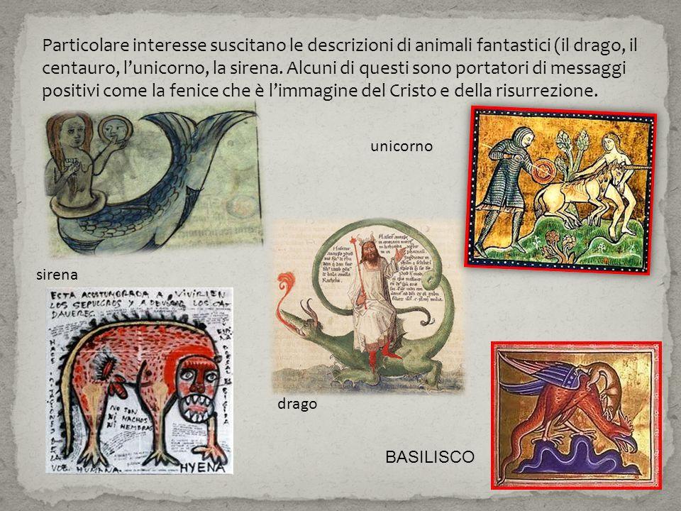 Particolare interesse suscitano le descrizioni di animali fantastici (il drago, il centauro, lunicorno, la sirena. Alcuni di questi sono portatori di