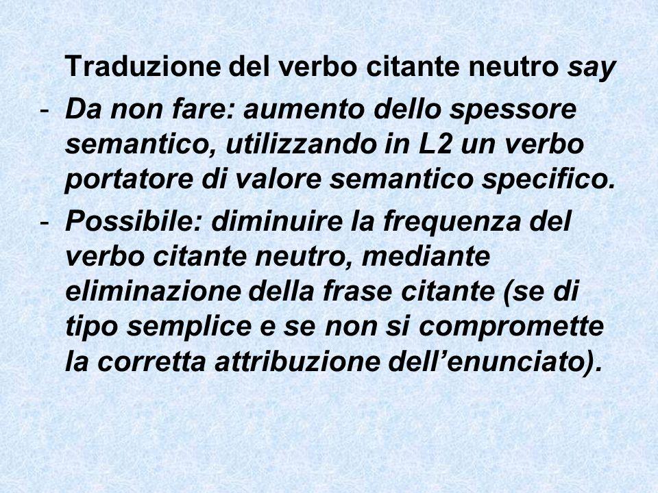 Traduzione del verbo citante neutro say -Da non fare: aumento dello spessore semantico, utilizzando in L2 un verbo portatore di valore semantico speci