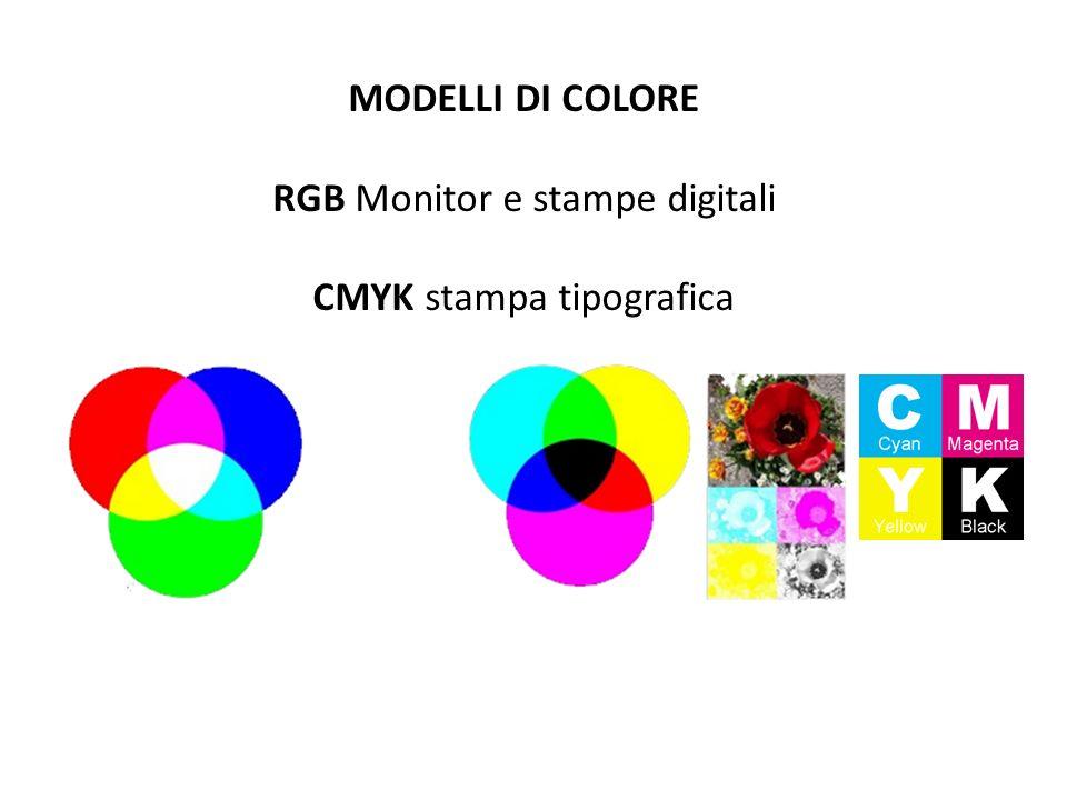 MODELLI DI COLORE RGB Monitor e stampe digitali CMYK stampa tipografica