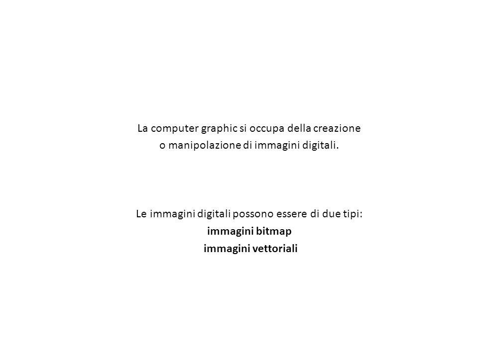 La computer graphic si occupa della creazione o manipolazione di immagini digitali. Le immagini digitali possono essere di due tipi: immagini bitmap i