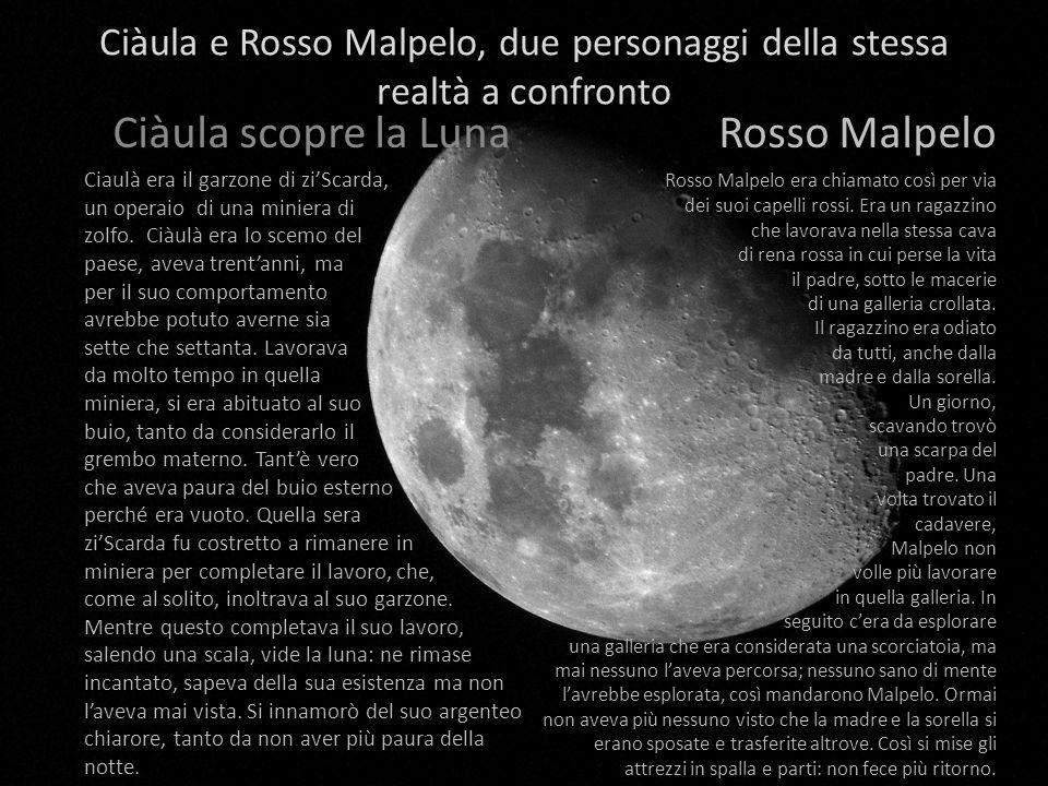 Ciàula e Rosso Malpelo, due personaggi della stessa realtà a confronto Ciàula scopre la Luna Ciaulà era il garzone di ziScarda, un operaio di una miniera di zolfo.