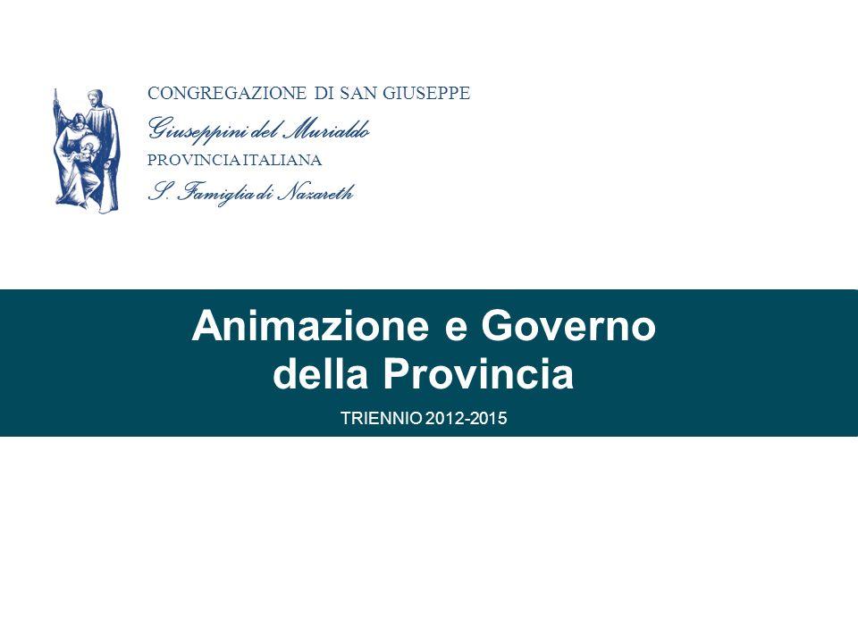La Provincia Italiana tra… animazione partecipazione corresponsabilità governo organizzazione CONGREGAZIONE DI SAN GIUSEPPE Giuseppini del Murialdo PROVINCIA ITALIANA S.