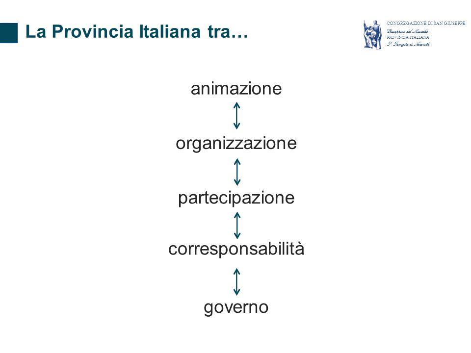 La Provincia Italiana tra… animazione partecipazione corresponsabilità governo organizzazione CONGREGAZIONE DI SAN GIUSEPPE Giuseppini del Murialdo PR