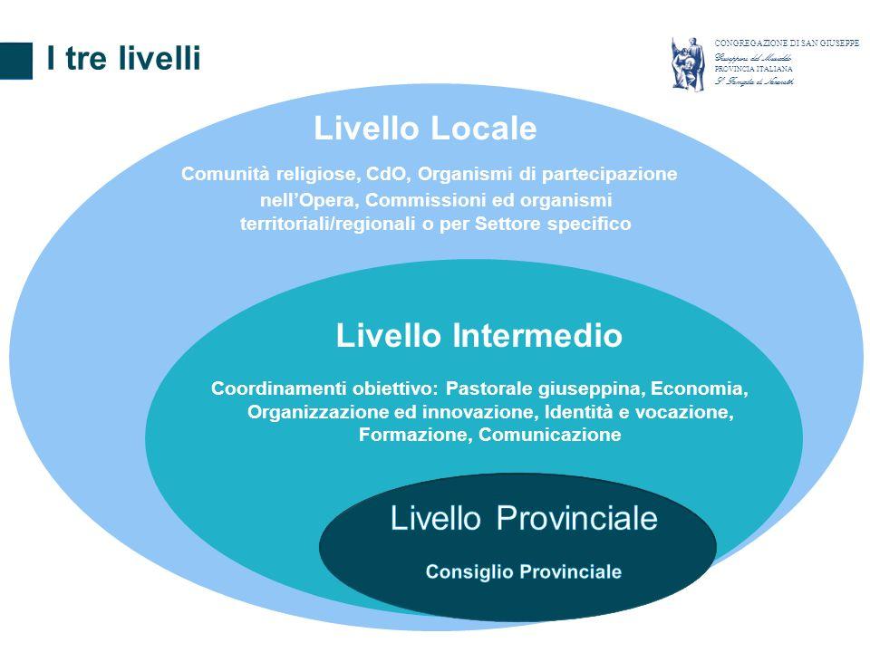 I tre livelli CONGREGAZIONE DI SAN GIUSEPPE Giuseppini del Murialdo PROVINCIA ITALIANA S. Famiglia di Nazareth Livello Intermedio Coordinamenti obiett