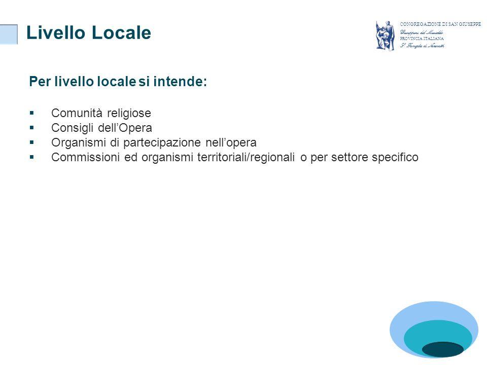 Livello Locale CONGREGAZIONE DI SAN GIUSEPPE Giuseppini del Murialdo PROVINCIA ITALIANA S. Famiglia di Nazareth Per livello locale si intende: Comunit