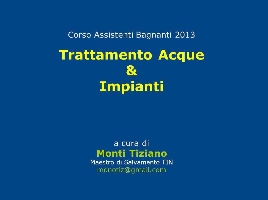 Corso Assistenti Bagnanti 2013 Trattamento Acque & Impianti a cura di Monti Tiziano Maestro di Salvamento FIN monotiz@gmail.com