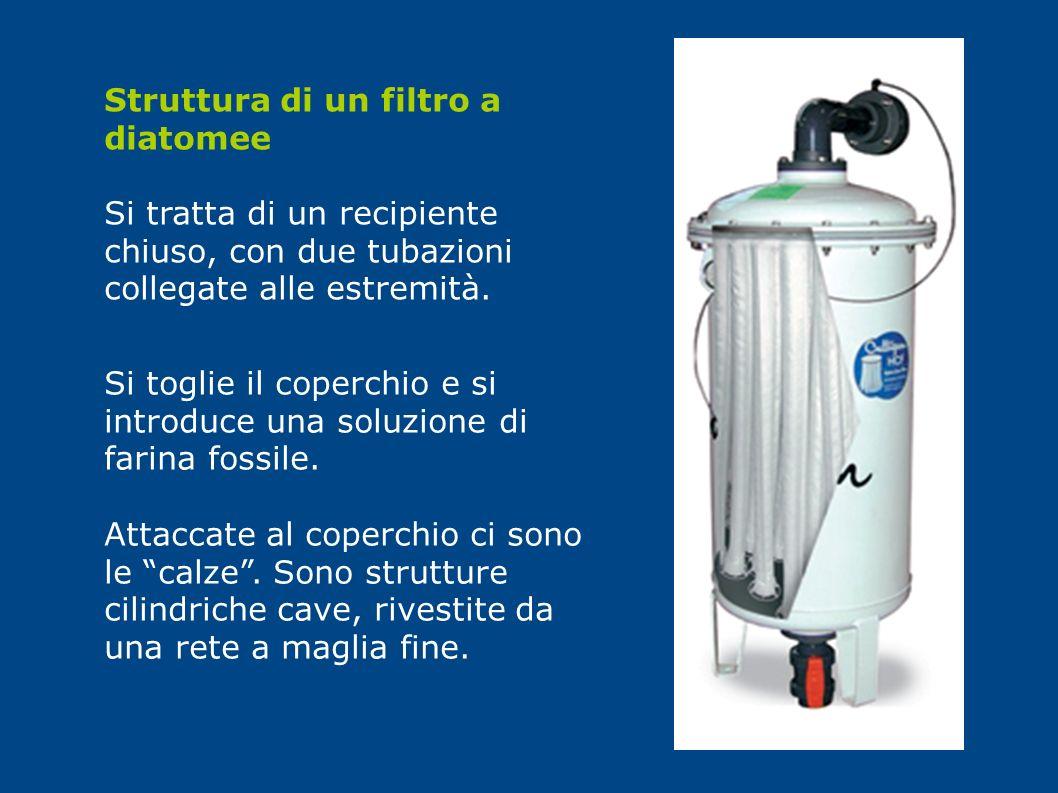Struttura di un filtro a diatomee Si tratta di un recipiente chiuso, con due tubazioni collegate alle estremità. Si toglie il coperchio e si introduce