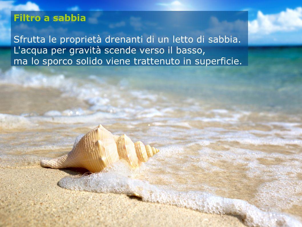 Filtro a sabbia Sfrutta le proprietà drenanti di un letto di sabbia. L'acqua per gravità scende verso il basso, ma lo sporco solido viene trattenuto i