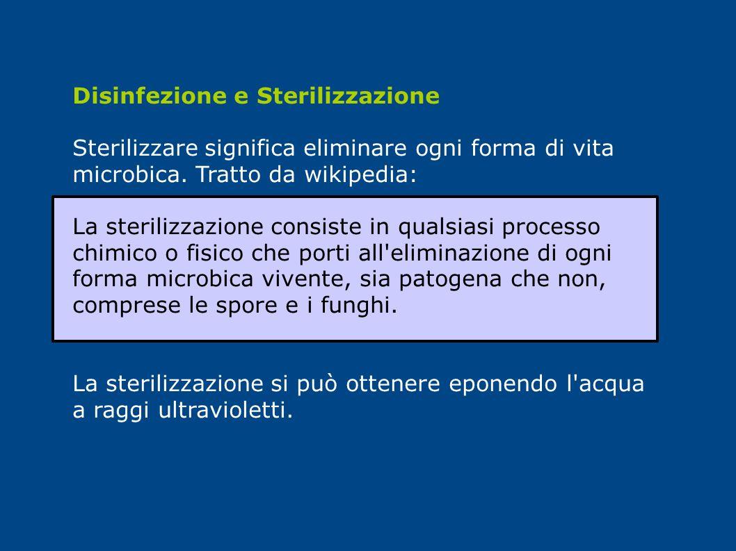 Disinfezione e Sterilizzazione Sterilizzare significa eliminare ogni forma di vita microbica. Tratto da wikipedia: La sterilizzazione consiste in qual