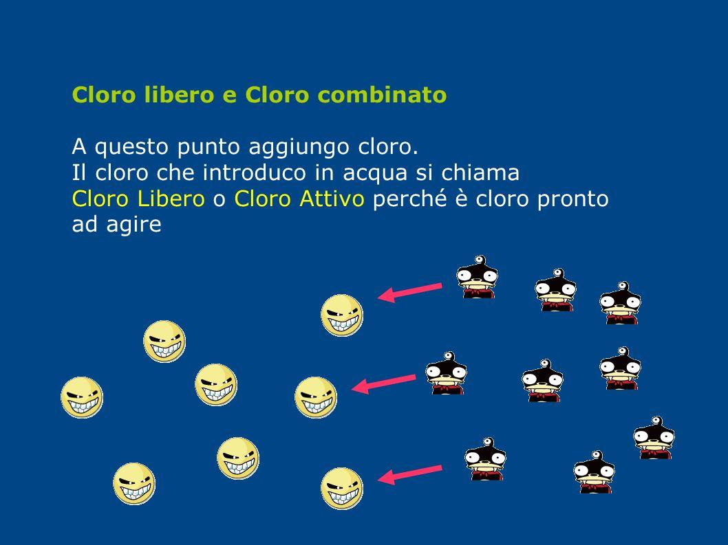 Cloro libero e Cloro combinato A questo punto aggiungo cloro. Il cloro che introduco in acqua si chiama Cloro Libero o Cloro Attivo perché è cloro pro