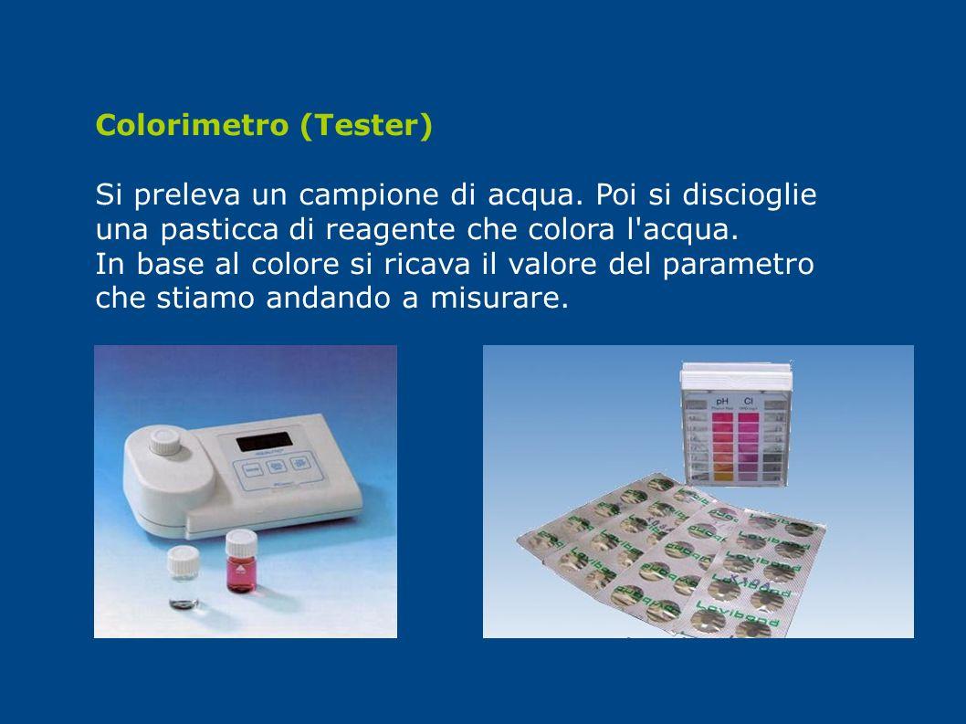 Colorimetro (Tester) Si preleva un campione di acqua. Poi si discioglie una pasticca di reagente che colora l'acqua. In base al colore si ricava il va