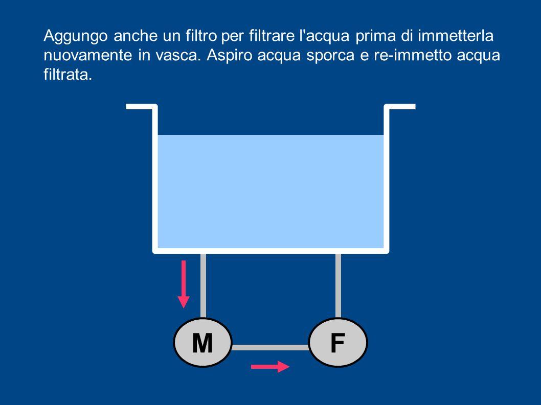 Aggungo anche un filtro per filtrare l'acqua prima di immetterla nuovamente in vasca. Aspiro acqua sporca e re-immetto acqua filtrata. MF