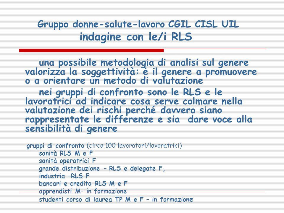 Gruppo donne-salute-lavoro CGIL CISL UIL indagine con le/i RLS una possibile metodologia di analisi sul genere valorizza la soggettività: è il genere