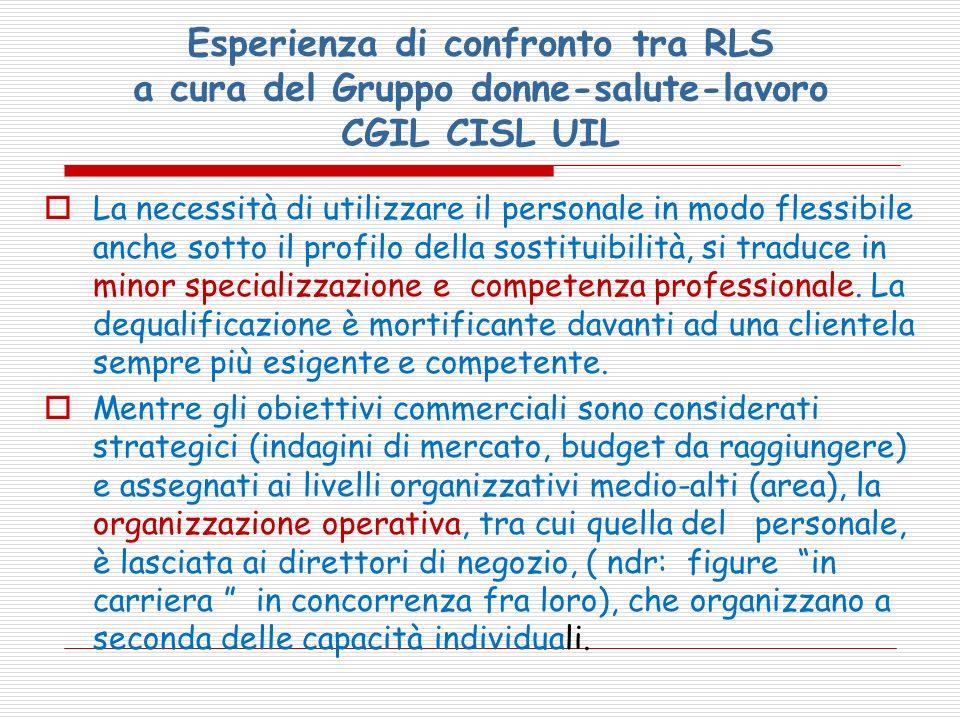 Esperienza di confronto tra RLS a cura del Gruppo donne-salute-lavoro CGIL CISL UIL La necessità di utilizzare il personale in modo flessibile anche s
