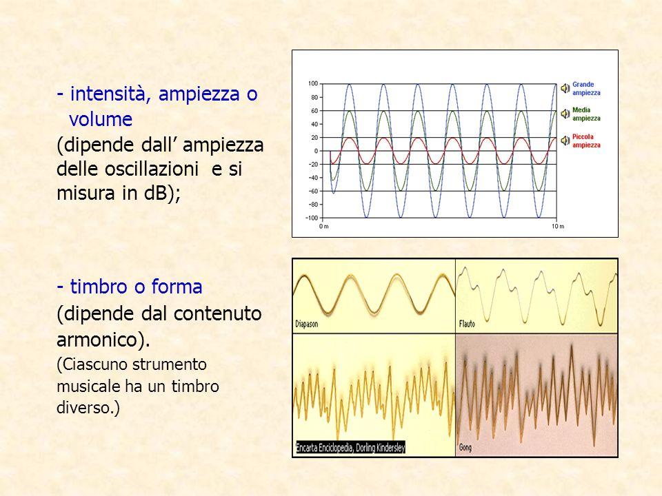 - intensità, ampiezza o volume (dipende dall ampiezza delle oscillazioni e si misura in dB); - timbro o forma (dipende dal contenuto armonico). (Ciasc